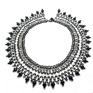 Bold bead necklace statement collar black silver grey