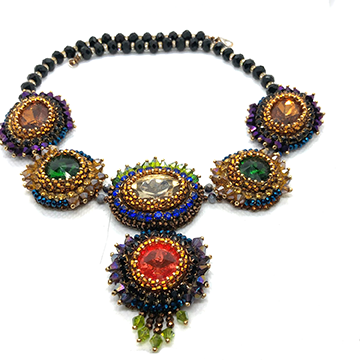 Bold bolllywood necklace statement collar royal blue black green gold amber