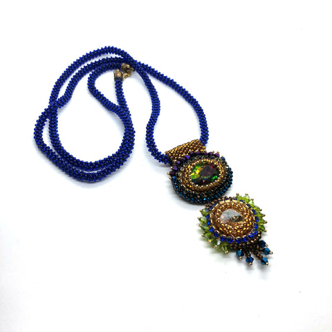 Bold bolllywood long necklace statement pendant royal blue green gold matinee