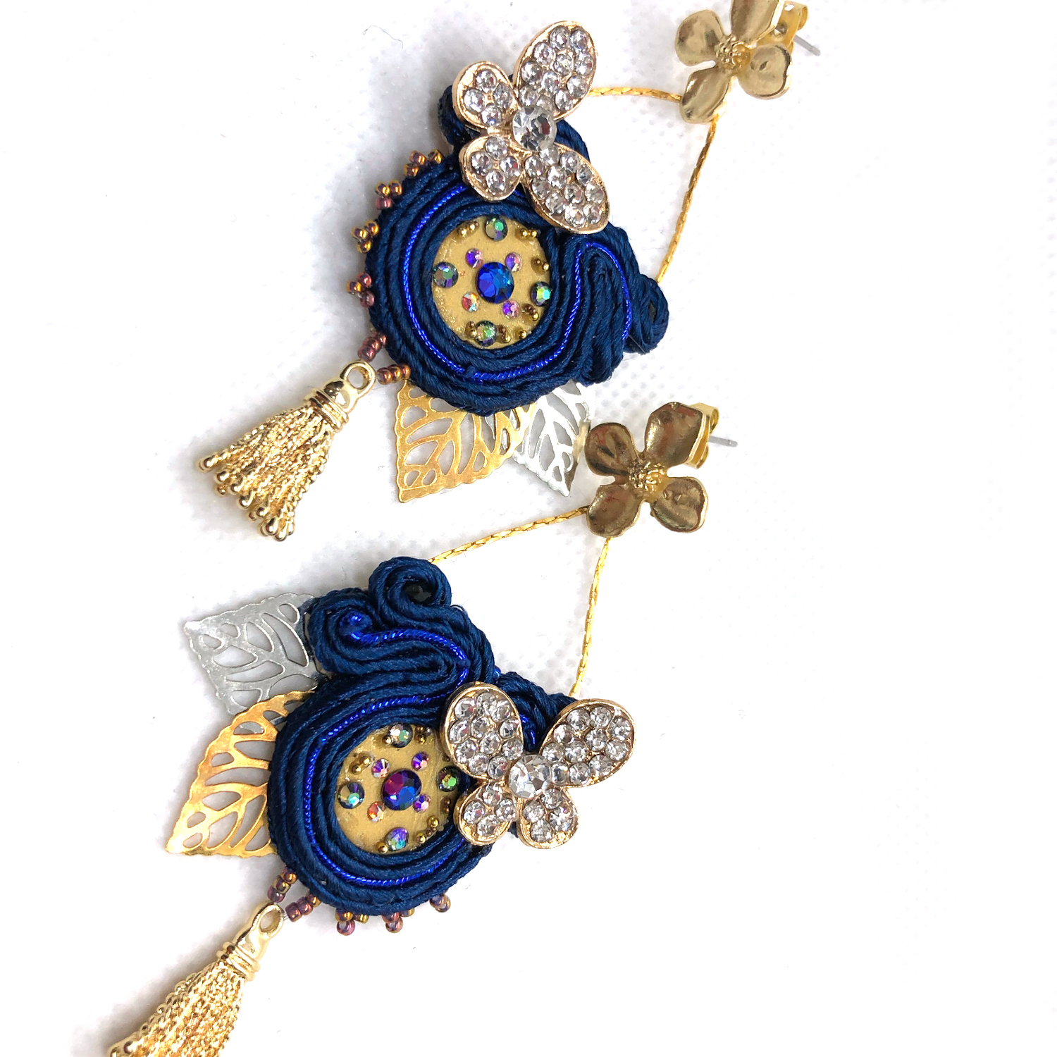 One-of-a-kind bold statement soutache dangle earrings blue white gold silver butterfly circular