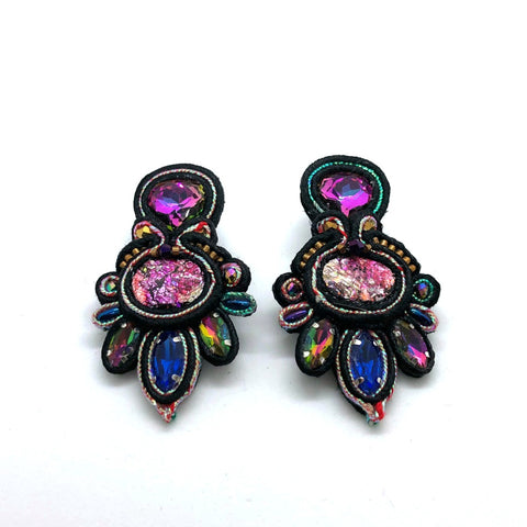 Statement drop soutache black earrings bold