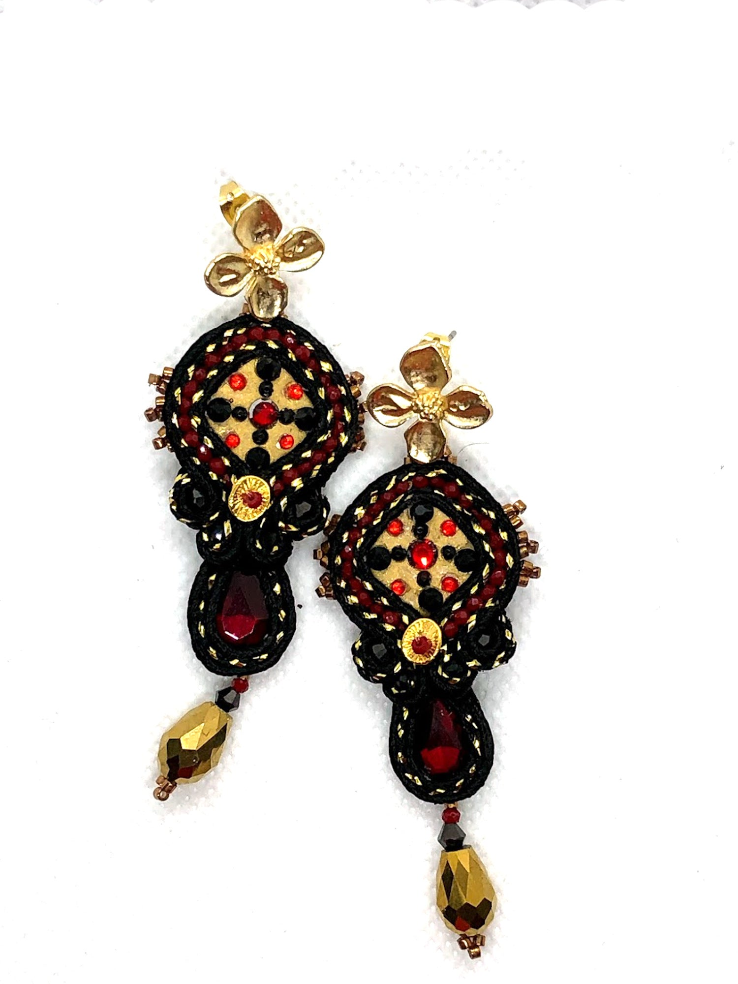 One-of-a-kind bold statement soutache dangle earrings black gold red swarovski