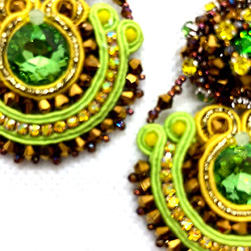 Bold drop long earrings soutache crystals gold neon green royal blue sivel black white grey pink purple colorfull statement