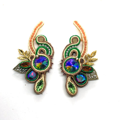 Bold one-of-a-kind soutache floral earrings drop soft multicolor copper gold statement