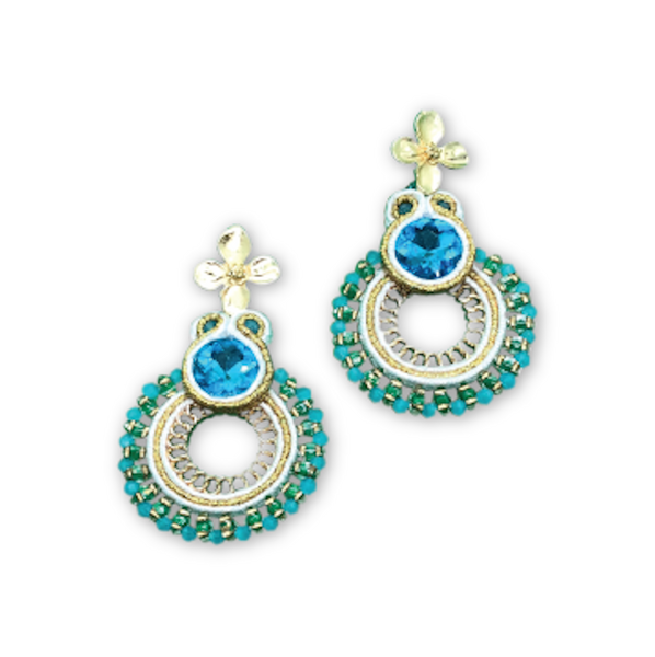 Bold drop flower earrings blue white gold green black hot pink handmade soutache circular crystals statement