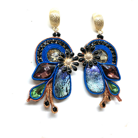 Bold one-of-a-kind soutache floral earrings dangle multicolor royal blue balck green copper gold statement