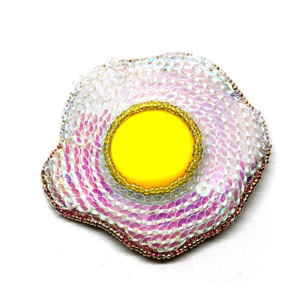 Statement handmade fried egg brooch bold embroidery yellow white gold