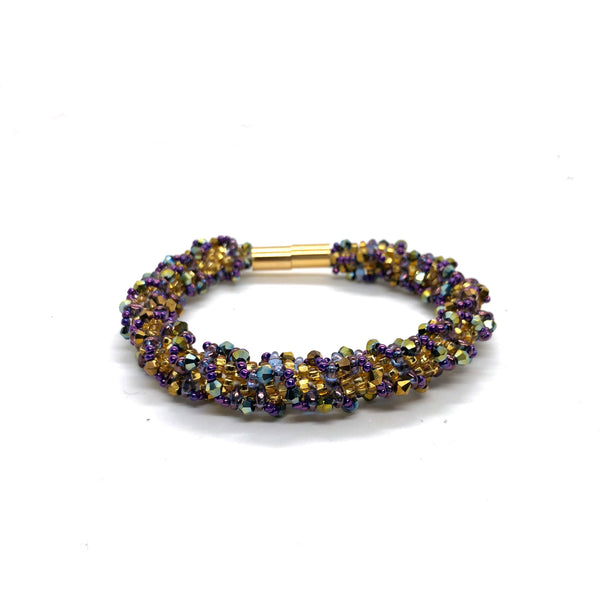 Statement Bead bangle bracelet gold purple black silver magnet clasp