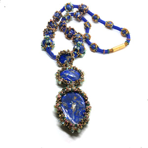 Bold lapislazuli long necklace statement pendant royal blue green gold