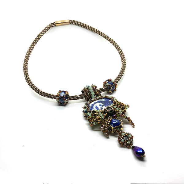 Bold lapislazuli short necklace statement collar pendant royal blue green gold