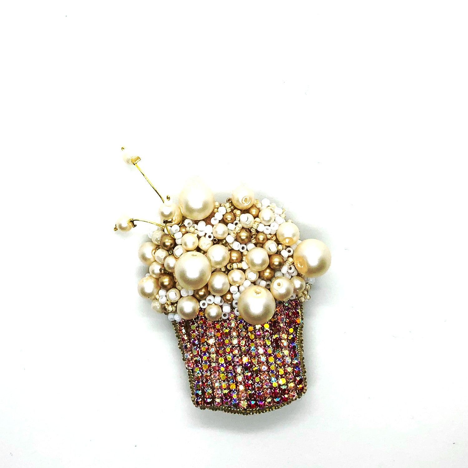 Statement handmade popcorn brooch bold embroidery crystals pearls red white gold