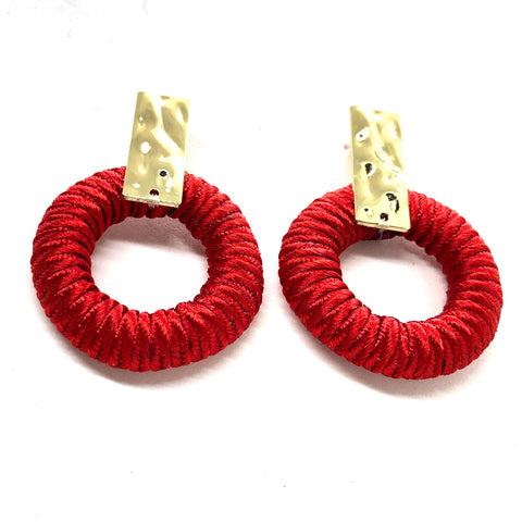 Bold handmade statement soutache gold black red drop earrings multicolors