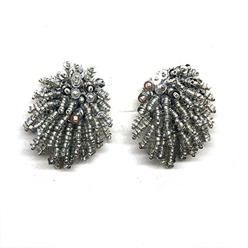Bold Firework clip-on earrings orange black green silver red gold