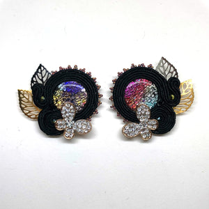 Bold one-of-a-kind soutache black studs earrings butterbly multicolot silver gold statement