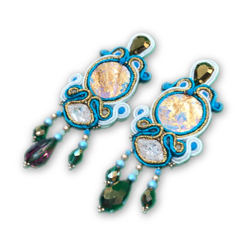 Bold handmade soutache drop long earrings blue white gold statement