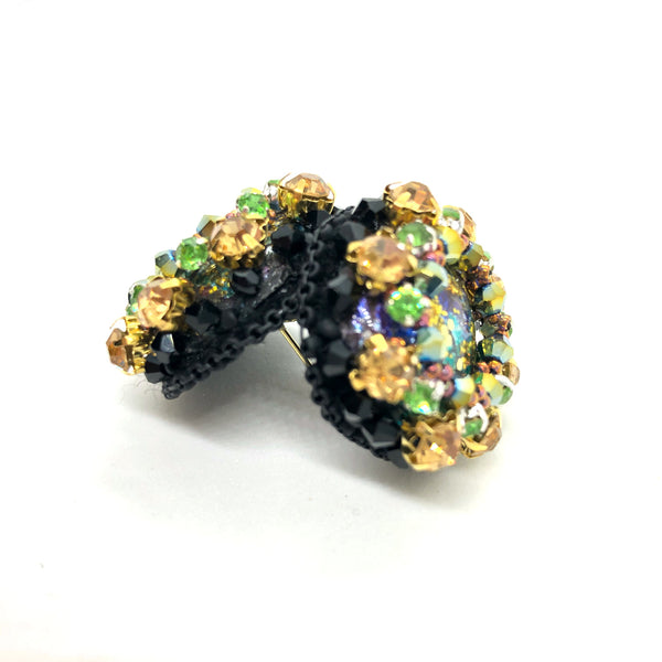 Bold statement Studs earrings crystals black gold blue purple green multicolor