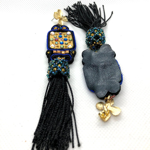 Bold dangle tassel earrings handmade black gold  royal blue statement handmade soutache