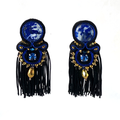 Bold drop tassel earrings handmade lapislazuli black white gold  royal blue statement
