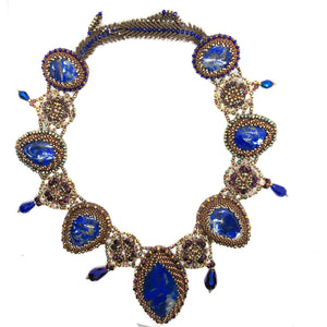 Bold lapislazuli princes necklace statement collar royal blue gold