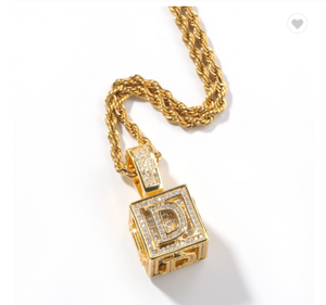 "Iced Out Cube ""D"" Pendant"