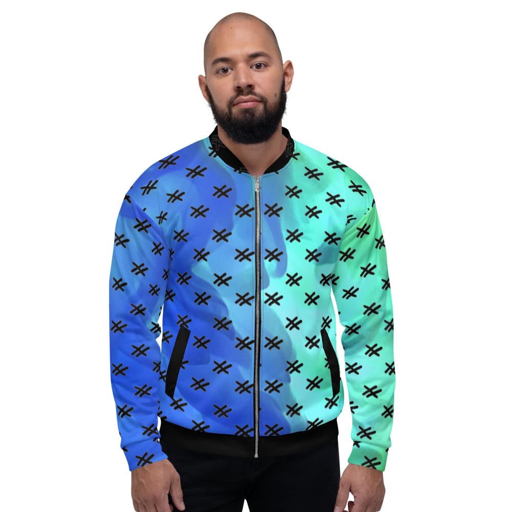 "Mens All Over Bomber Jacket ""Aqua"""