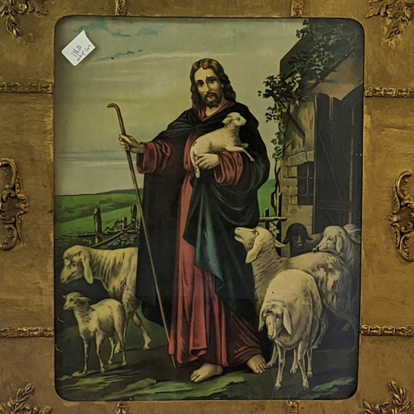 Close up of painting of Jesus and his sheep