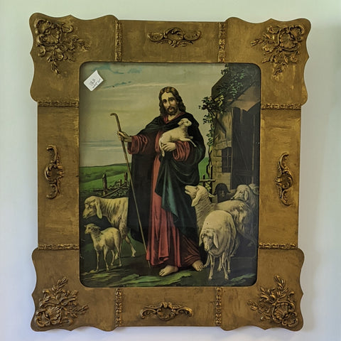 Framed painting of Jesus and sheep