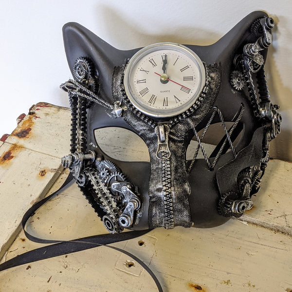 Cyborg cat mask with clock on forehead and back ties