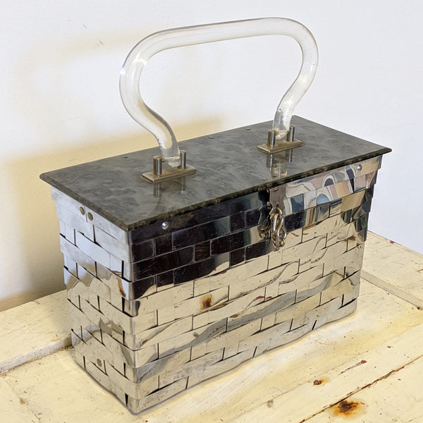 Metal basket weave purse with Lucite handle corner
