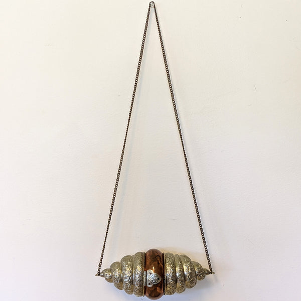 Metal and copper shell purse with chain