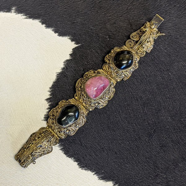 Pink, black and gold antique bead ball scroll bracelet