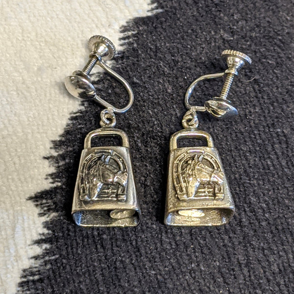 Silver cowbell with horses earrings