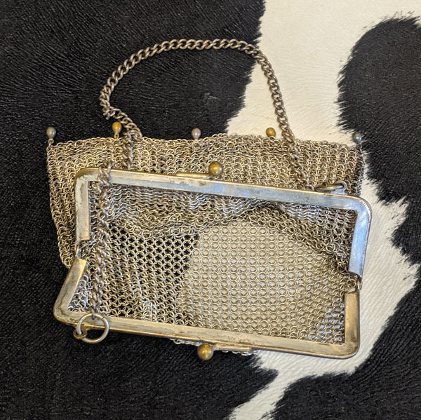 Metal art deco purse open