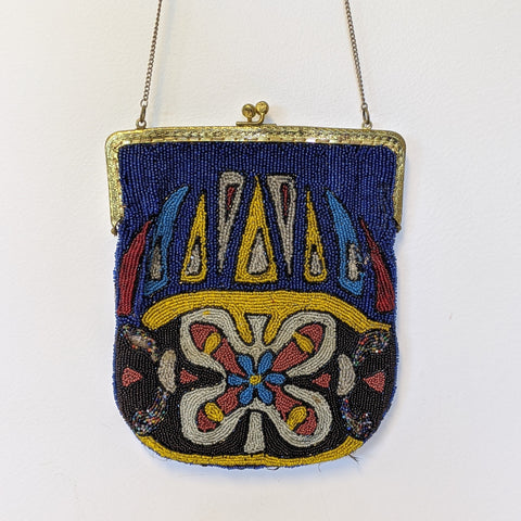 Antique blue, yellow, red, white and black beaded purse
