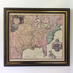 antique map with brown and gold frame