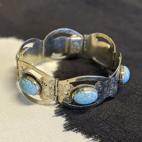 Silver and turquoise western-style bracelet