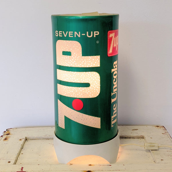 Vintage 7-Up Soda lamp turned on