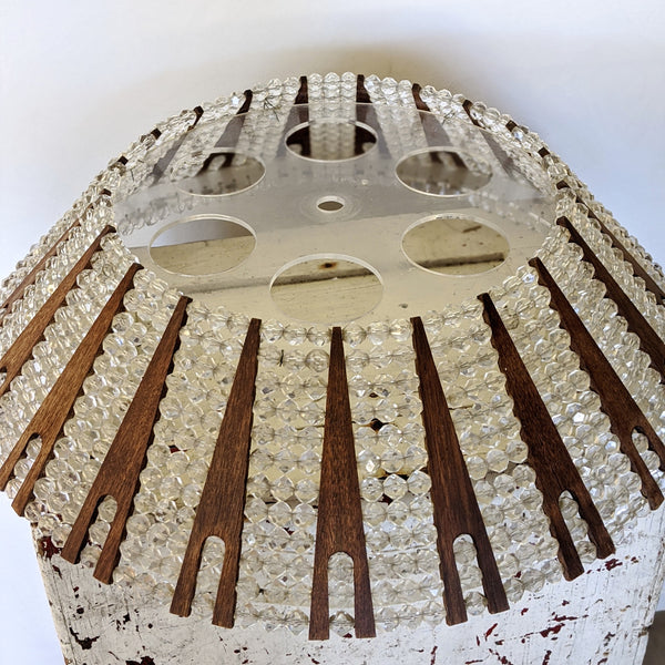Wood and beads lamp shade top view