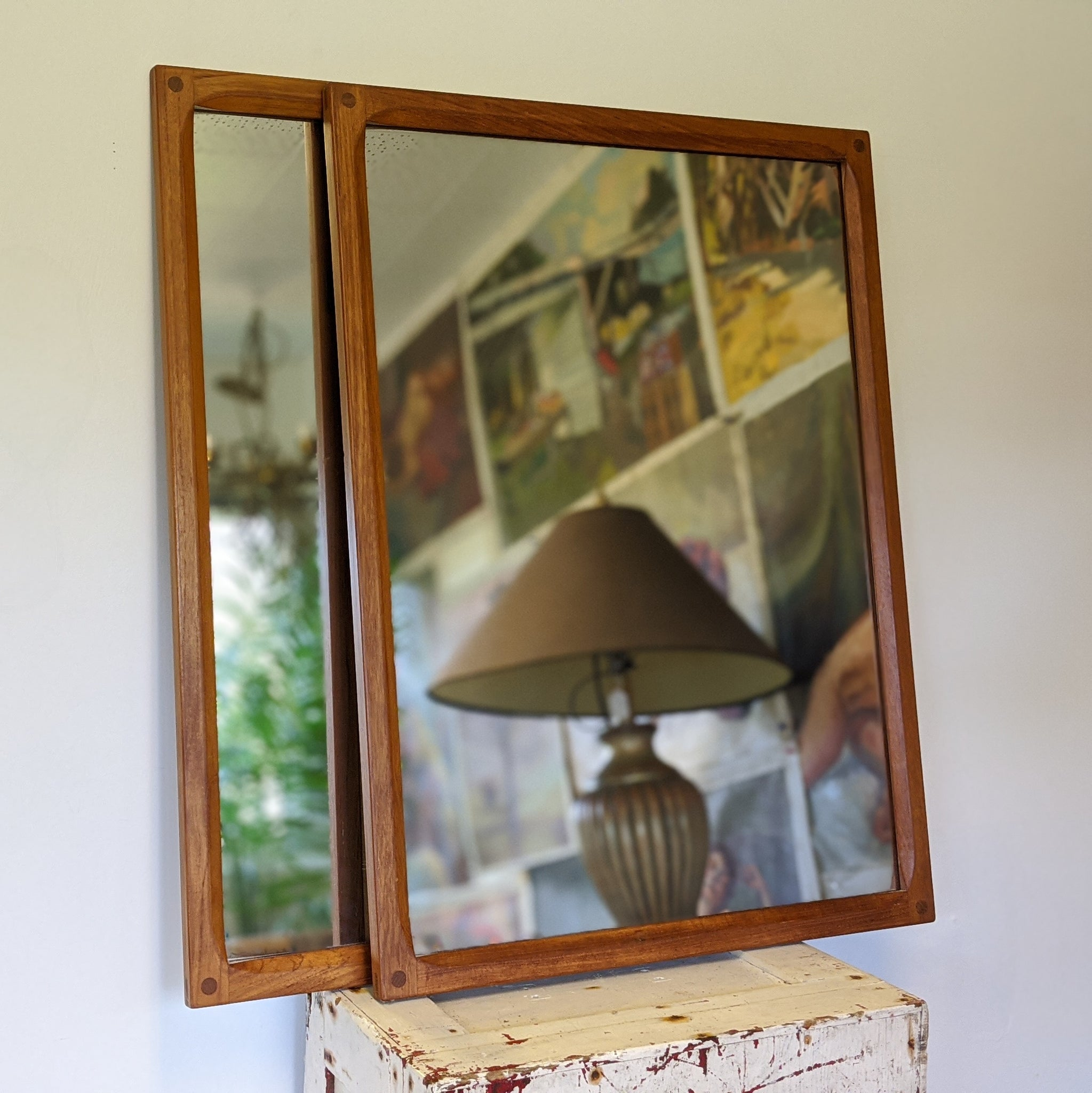 Midcentury rectangle wood mirrors (2)