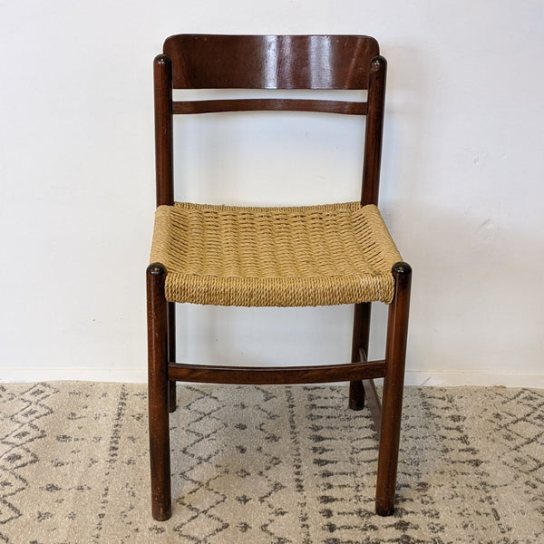 Wood chair with woven wicker seat front