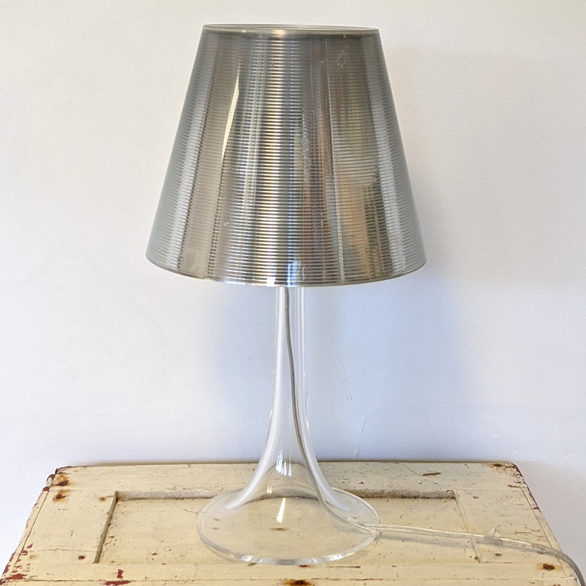Silver Lucite lamp with cord