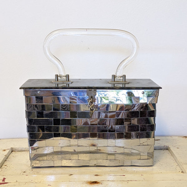 Metal basket weave purse with Lucite handle