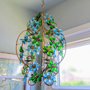 Green and blue flower chandelier