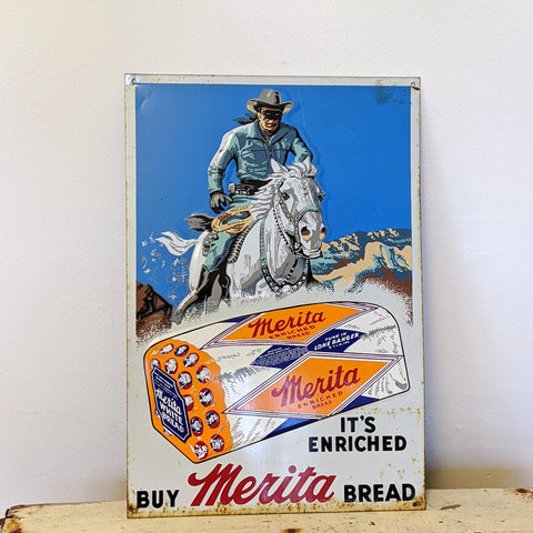 Vintage sign of lone ranger on white horse and Merita loaf of bread