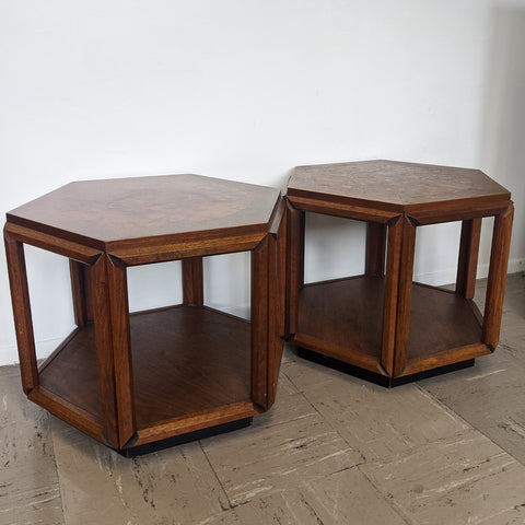 Two brown burl tables with open bottom, side-by-side