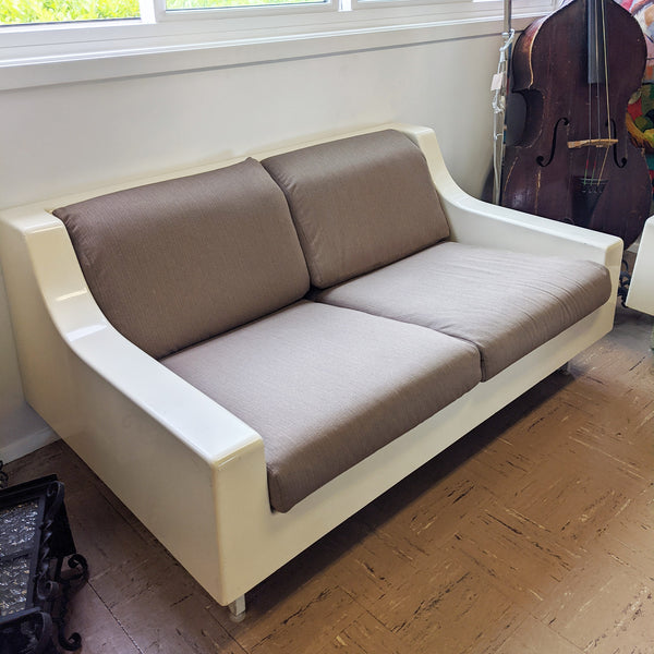 White and brown couch side view