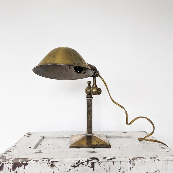 Brass desk lamp with gold cord