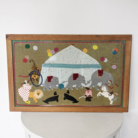 Circus animals with tent art, framed.
