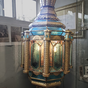 Handcrafted aquamarine blue and gold Spanish lamp with lots of detailing and enclosed light bulbs