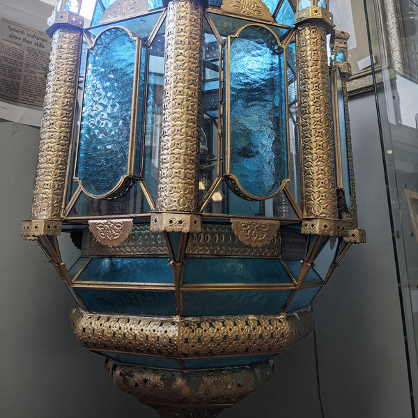 Handcrafted aquamarine blue and gold Spanish lamp view of bottom